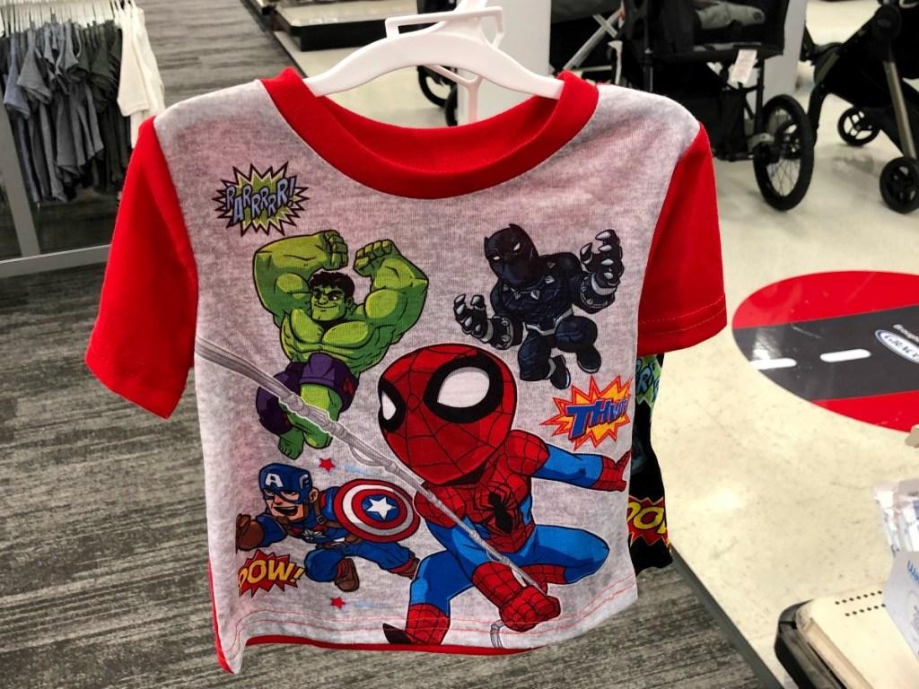 toddler marvel characters on sleepwear