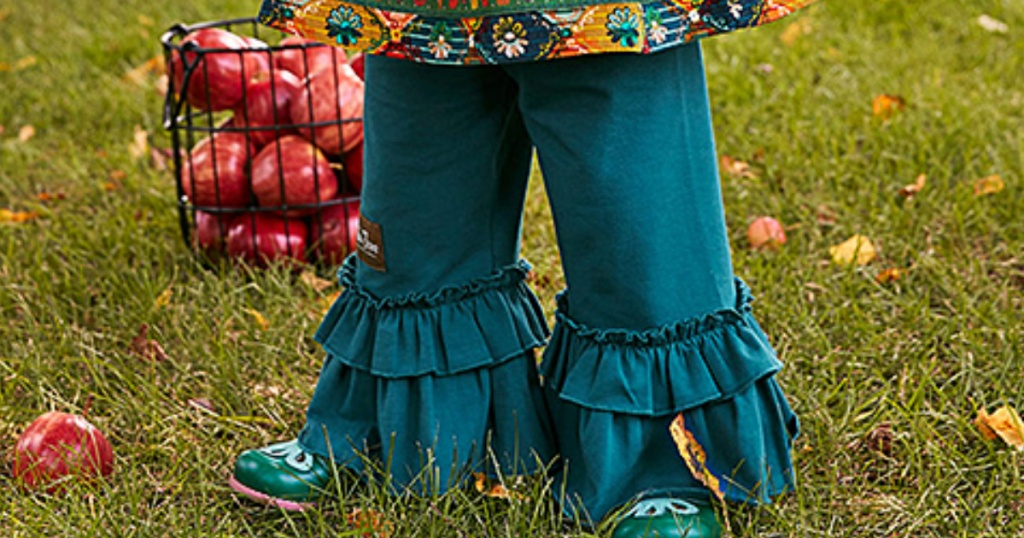 Matilda Jane Teal Bonfire Nights Ruffle Pants - Toddler & Girls