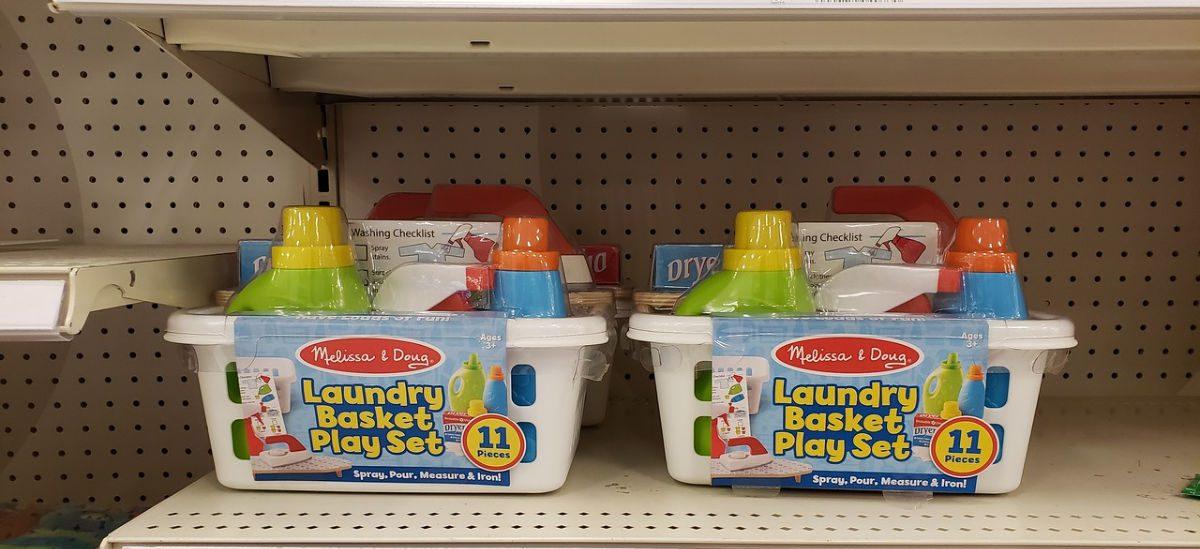 melissa & doug laundry set on shelf at target