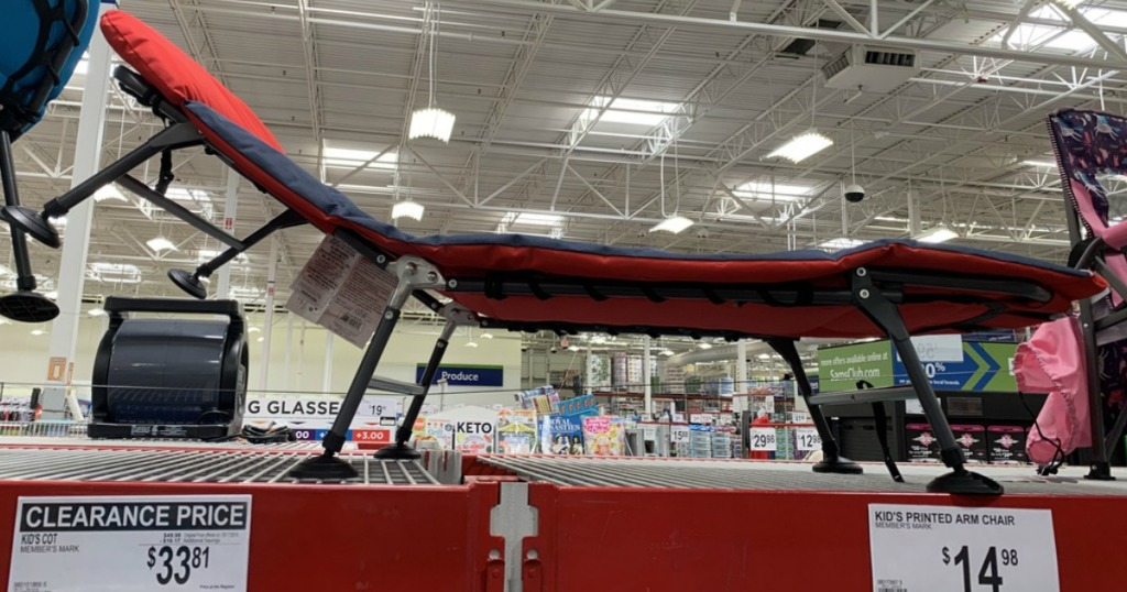 kids red and blue cot on display at sam's club