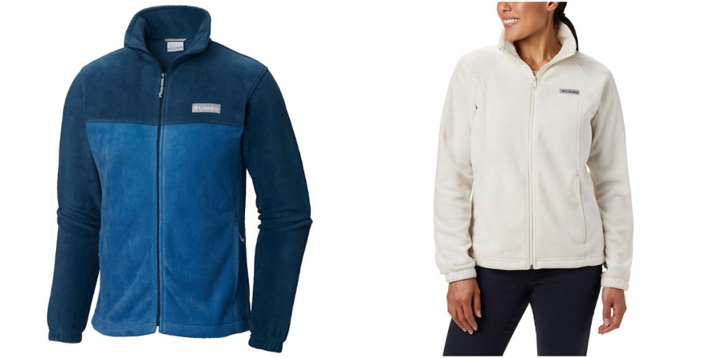Men's Columbia jackets and woman wearing Columbia jacket