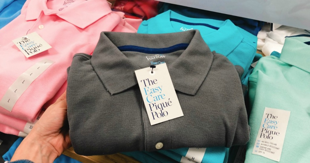 Men's Croft & Barrow Performance Polo in gray color on store shelf at Kohl's