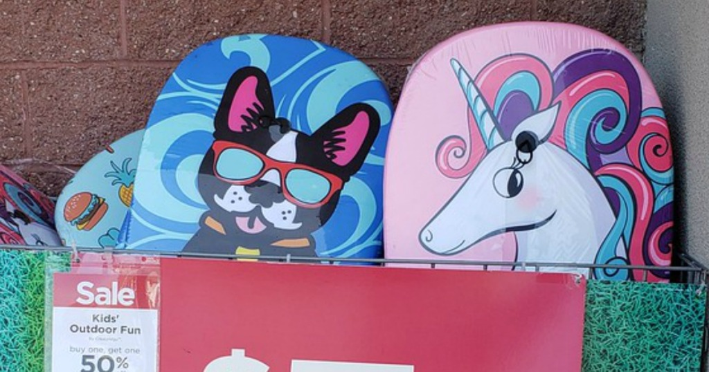 Bodyboards at Michaels - one with a unicorn and one with a puppy