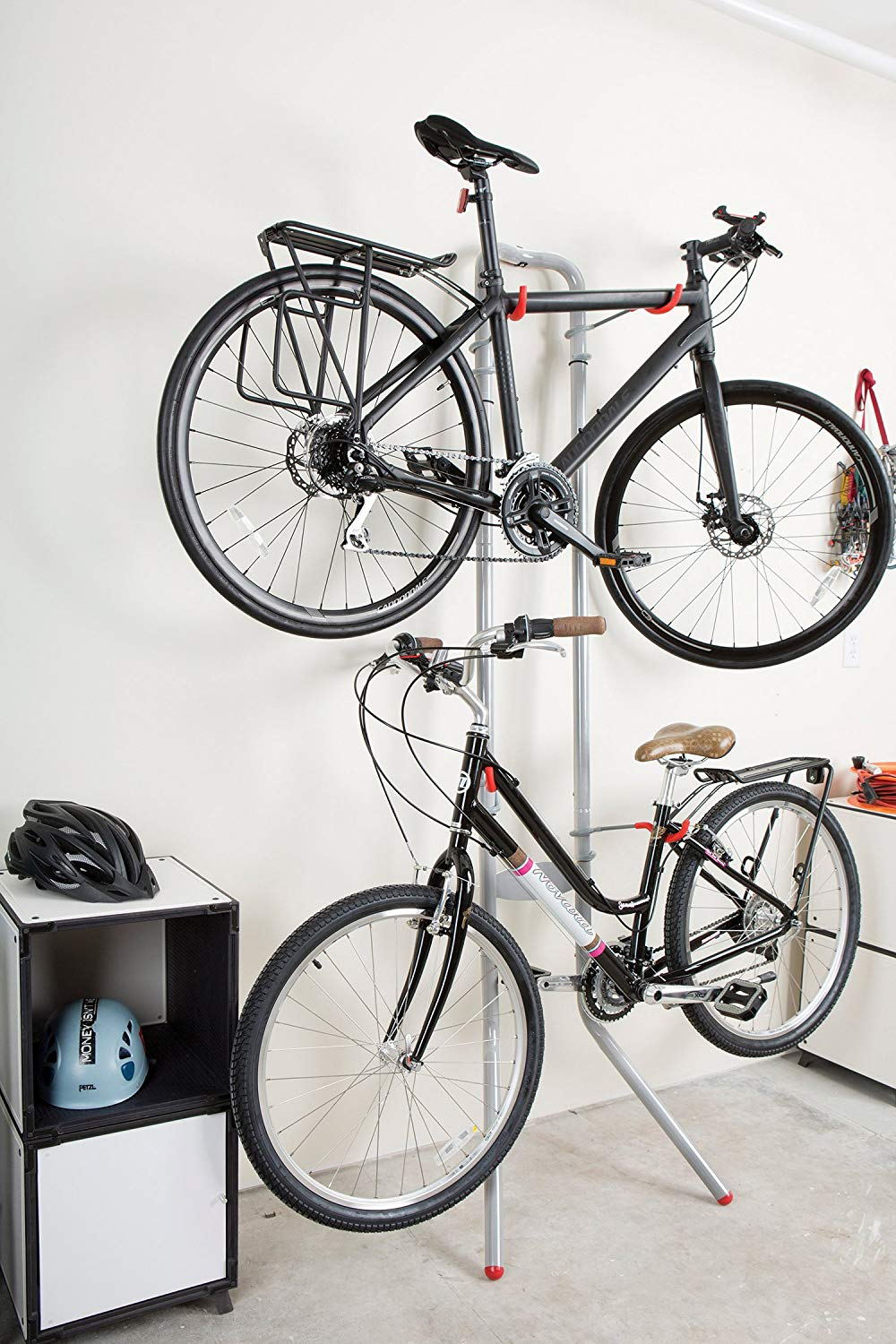 two bikes on a stand