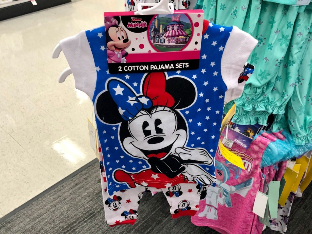 Minnie mouse patriotic sleepwear on hanger