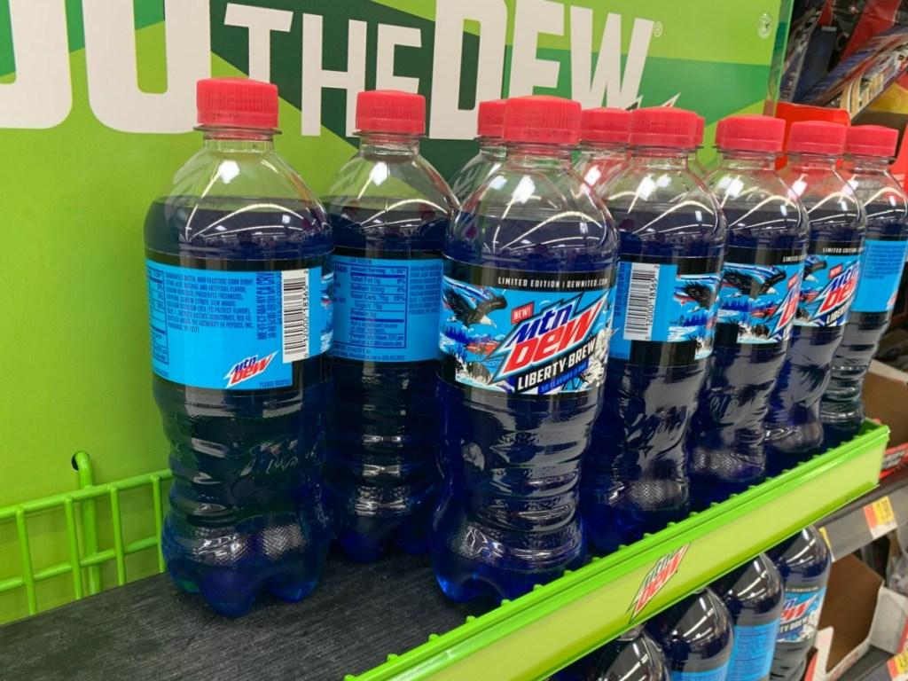 Mountain Dew Liberty Dew Bottles on display shelf