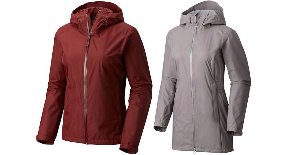 2 mountain hardwear jackets, one red, one light purple