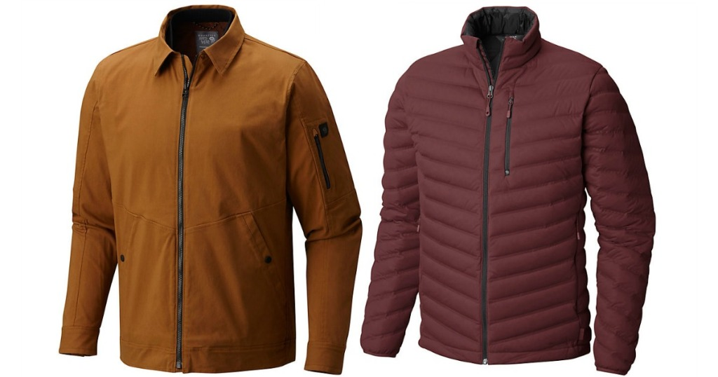 2 mens hardwear jackets, one brown, one maroon
