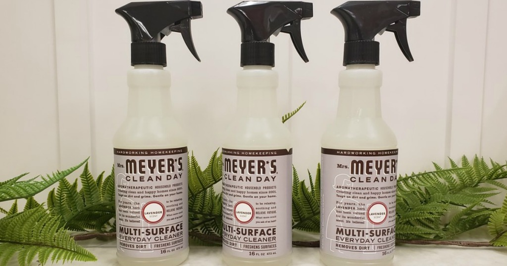 three Mrs. Meyers Cleaning Sprays in a row