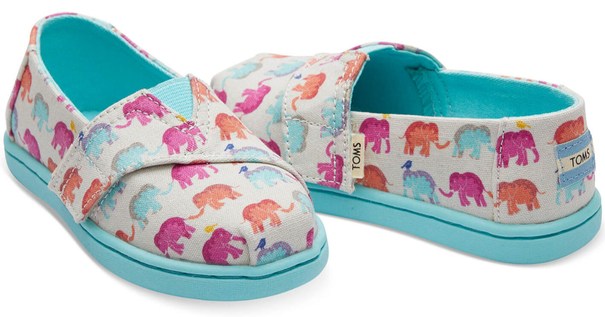 Tiny Toms Classic Canvas in multi elephants with teal bottoms on white background