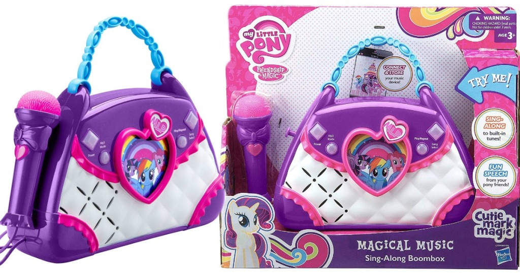 purple and pink plastic boombox toy that is shaped like a purse