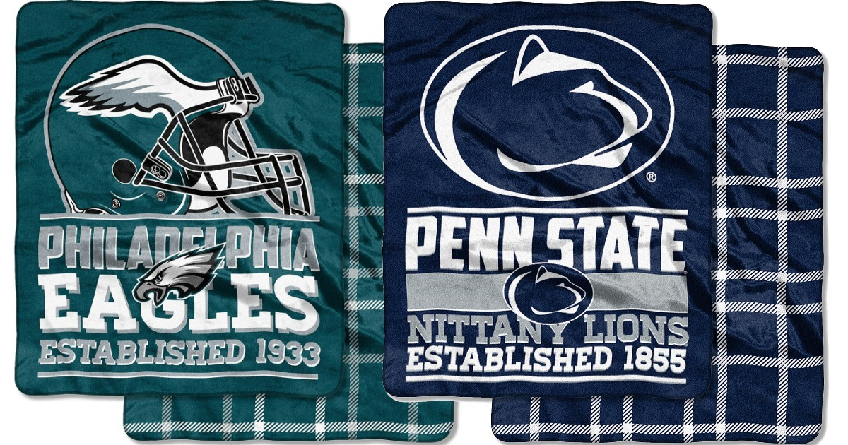 green philadelphia eagles blanket and blue penn state nittany lions blanket