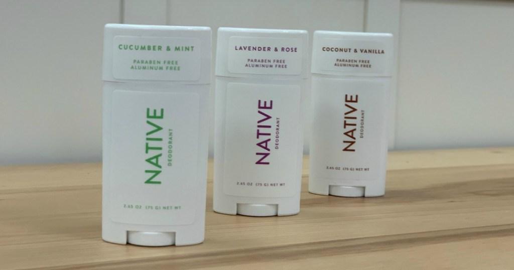 three native deodorants on counter