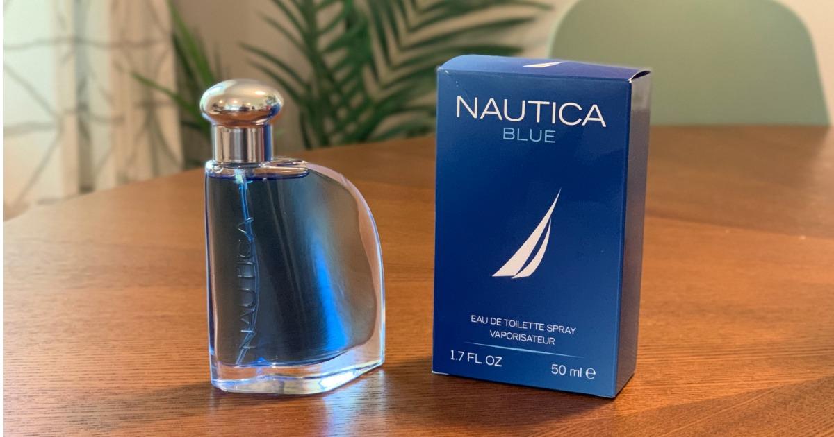 Nautica Blue Toilette Spray on table