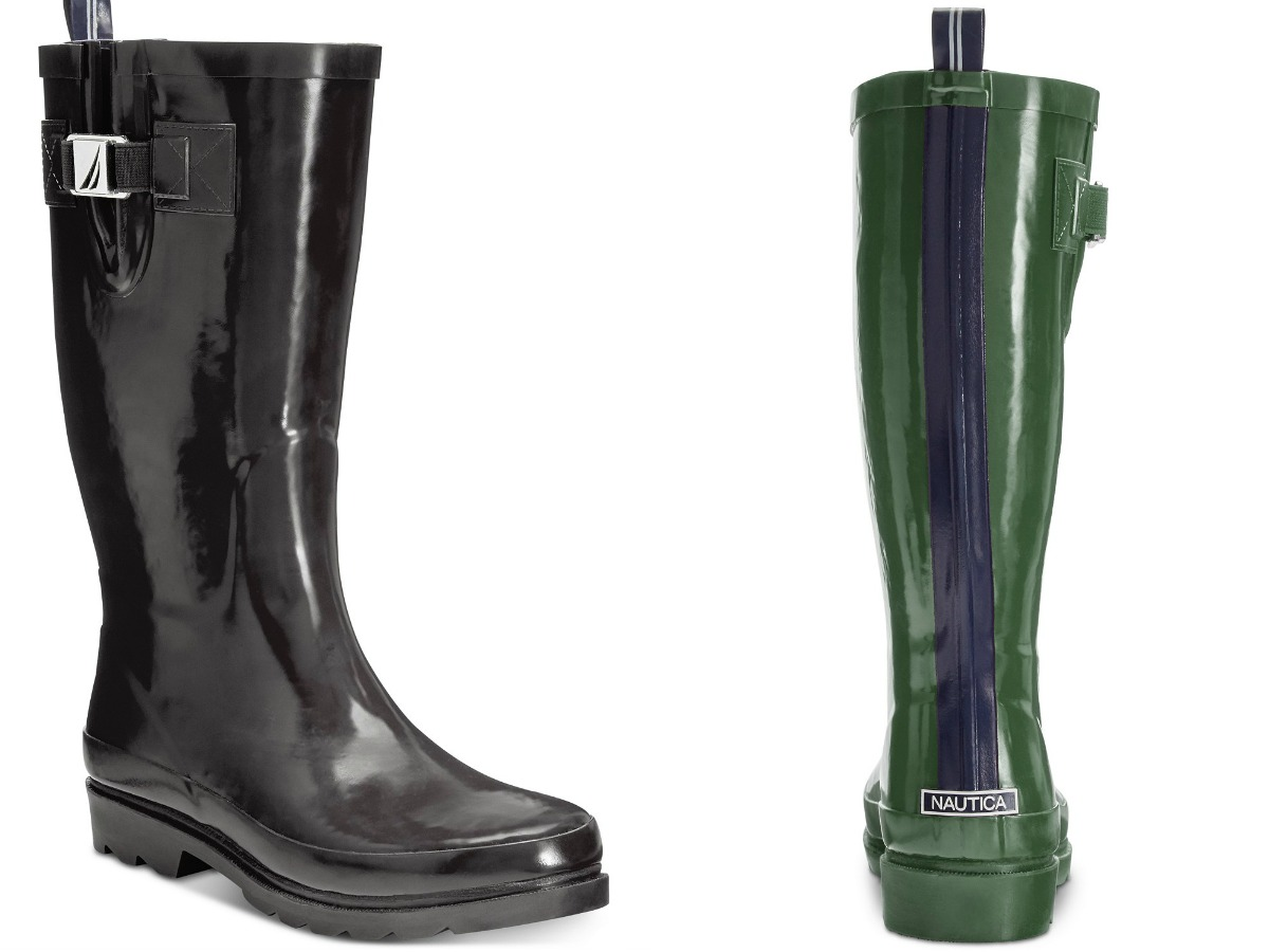 black nautica boot and back of green and blue nautica boot