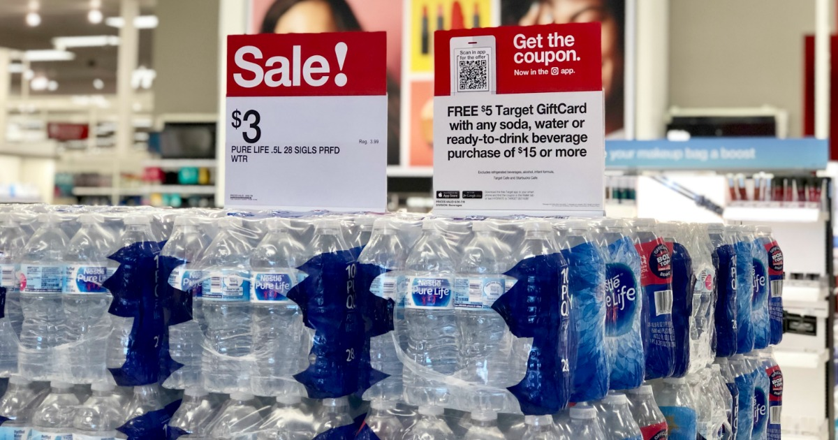 stacks of Nestle Pure Life water 28-packs at Target with sale sign on top