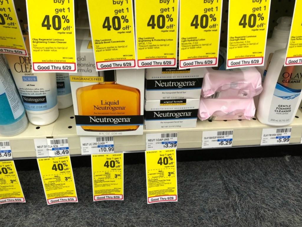 neutrogena bars on cvs shelf with price tag