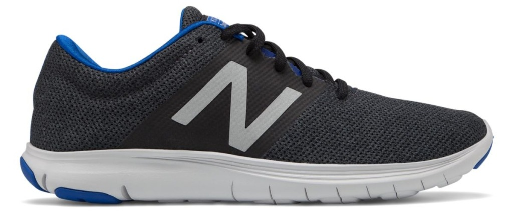 New Balance men's black and blue running shoes