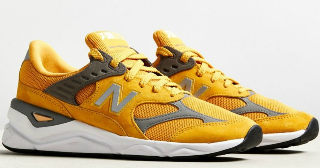 Pair of New Balance Men's X-90 Shoes in Gold Rush