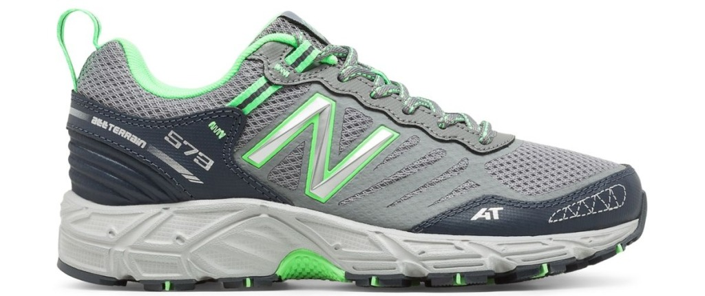 New Balance women's gray and green trail running shoes