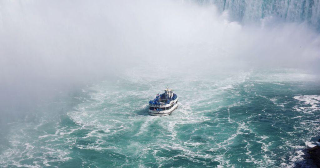 Riding a boat tour to Niagara Falls
