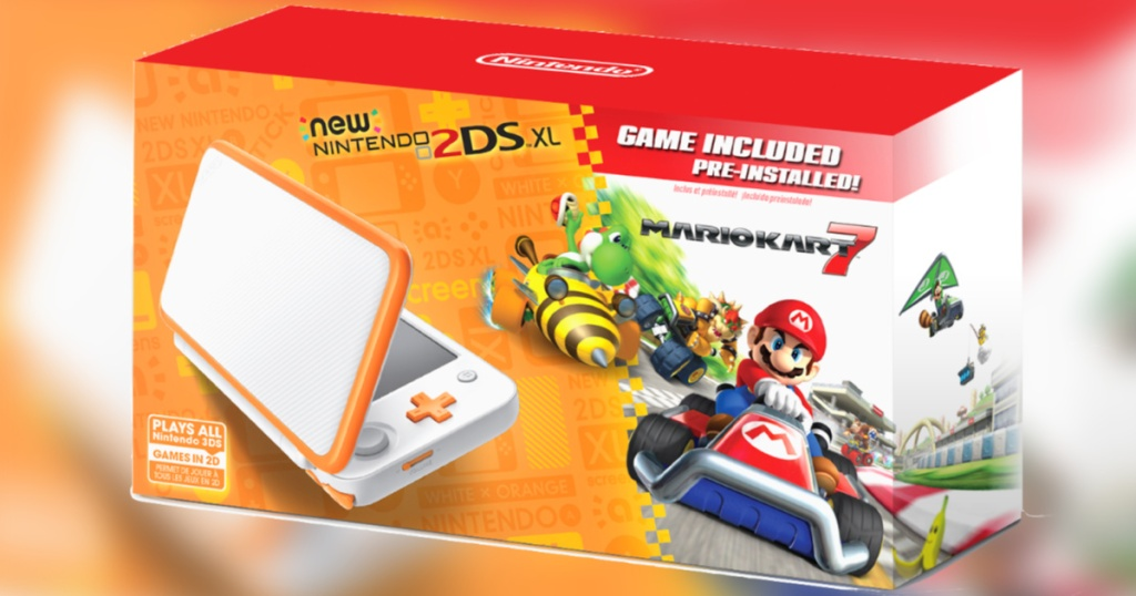 Orange and white nintendo 2ds xl console box with mario kart 7