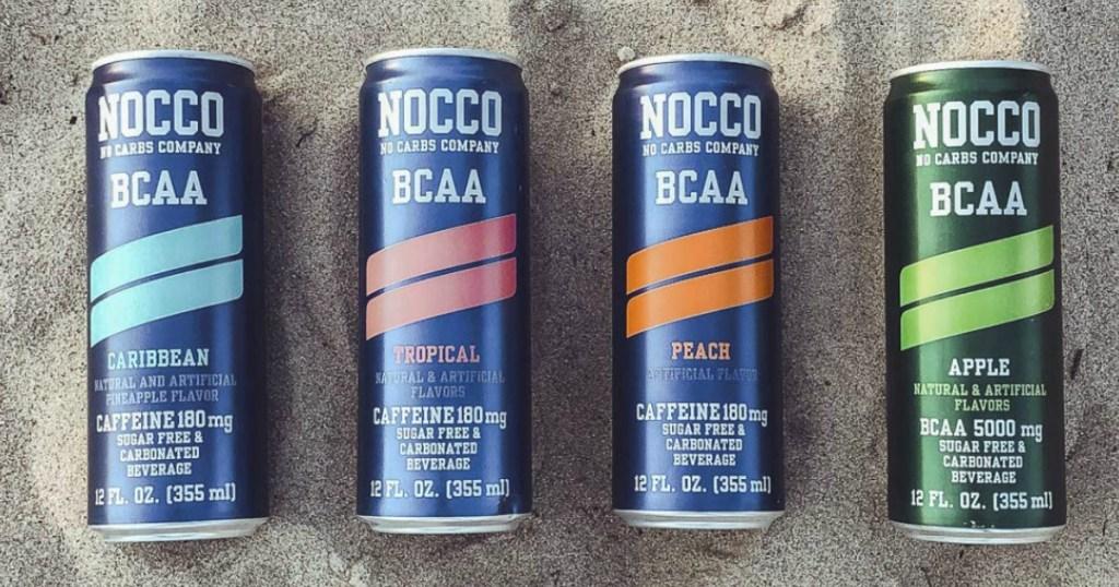 NOCCO Energy drinks on beach