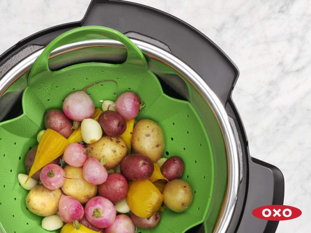 tri color potatos in OXO Silicone Pressure Cooker Steamer