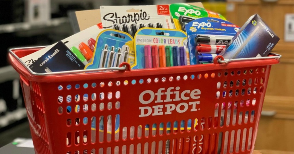 Office Depot basket with pens