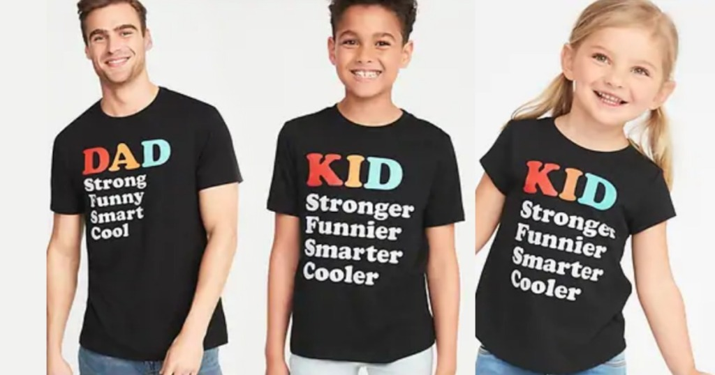 man, boy and girl wearing black fathers day shirts with colorful lettering