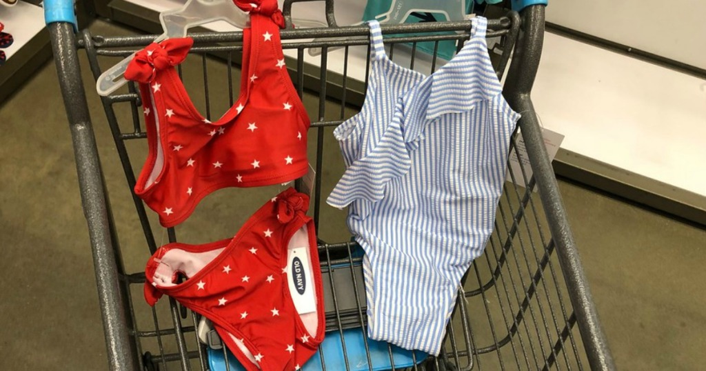 Old Navy Girls and Toddler Girls Swimwear in a shopping cart at the store