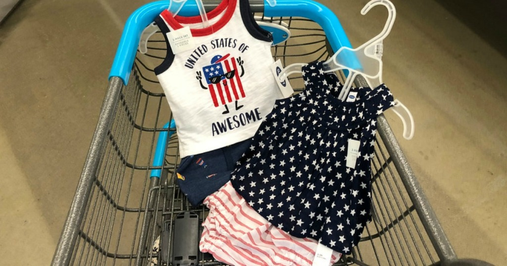 Old Navy Infant Clothing in a shopping cart