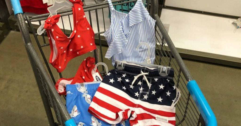 Old Navy Kids Swimwear in a shopping basket