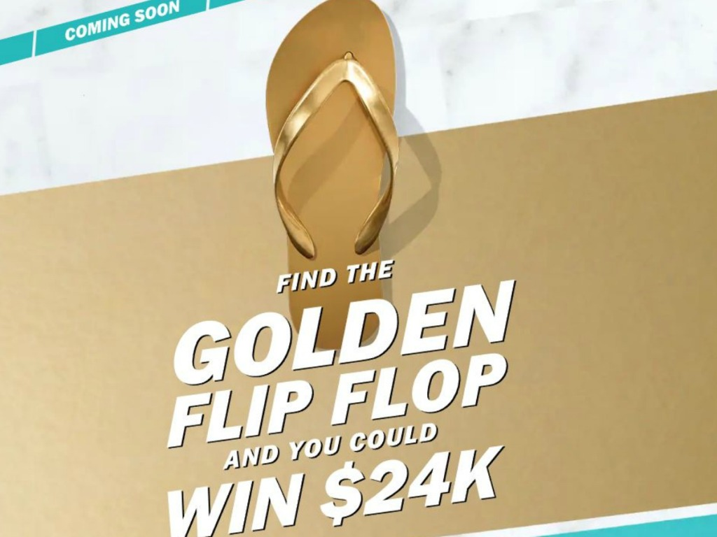Gold Flip Flop with writing on screen