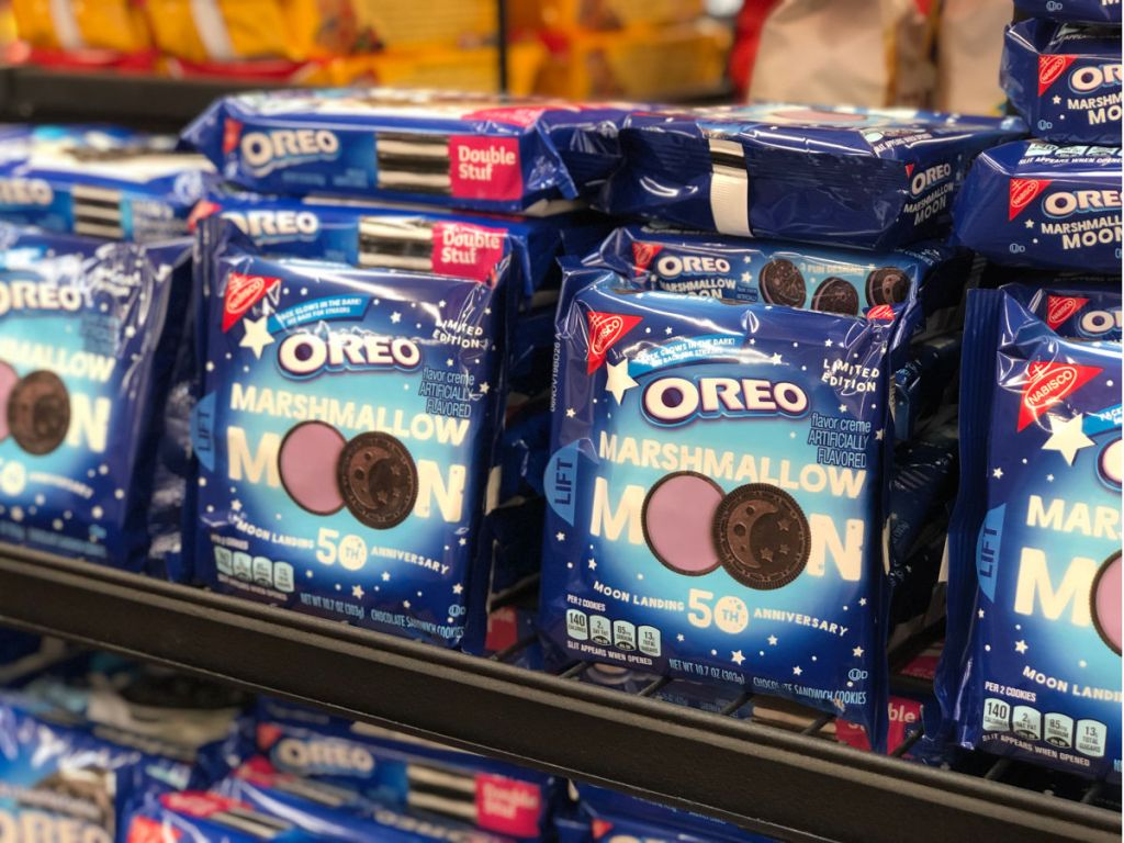 Shelf in Walmart of Oreo Marshmallow moon packages