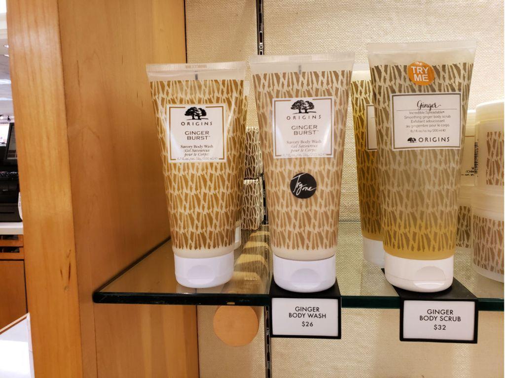 Glass shelf of Origins Ginger Burst Savory Body Wash