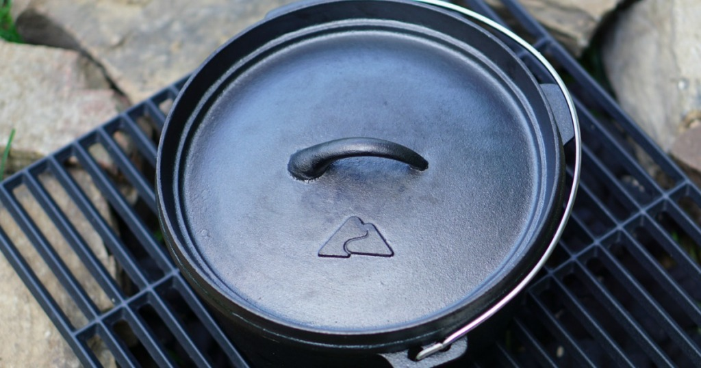 aerial view of ozark trail cast iron dutch oven