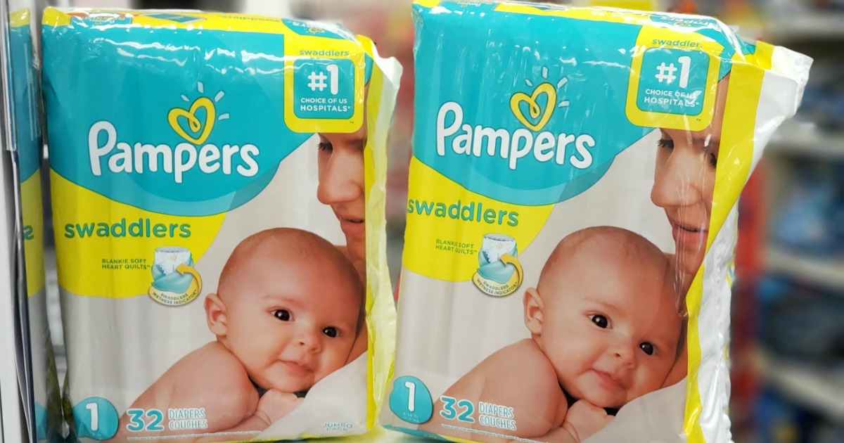 Pampers diapers packs on counter