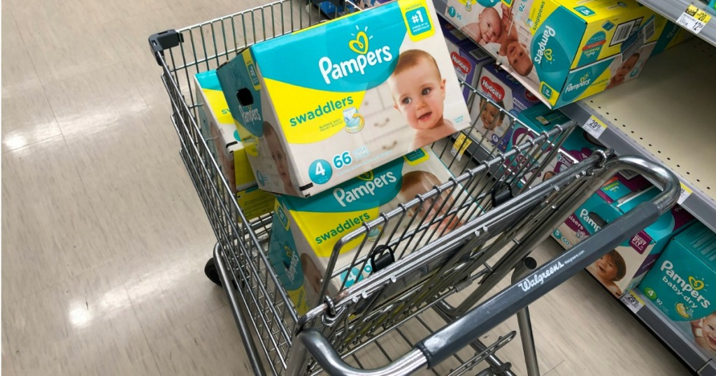 3 Boxes of Pampers Swaddlers in Walgreens Cart