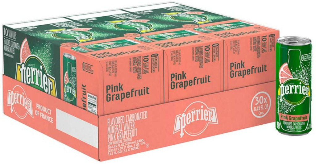 a box of Perrier Pink Grapefruit Flavored Mineral Water 30ct Slim Cans