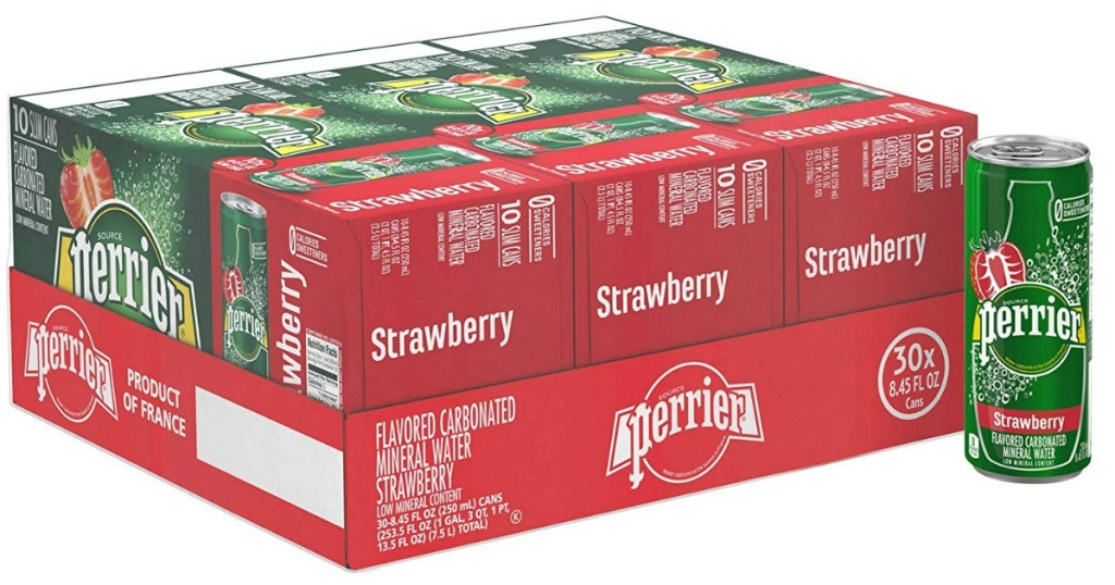 a box of Perrier Strawberry Flavored Mineral Water 30ct Slim Cans