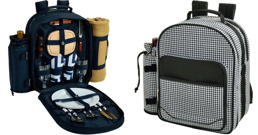 picnic backpack with cutlery, dishes, napkins, and more