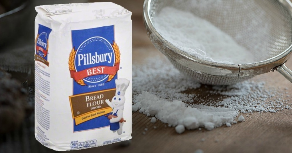Bag of Pillsbury bread flour overlaid on a counter with flour sifter