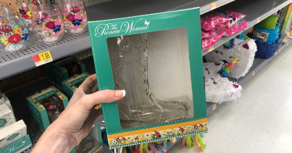 pioneer woman glass boot drinkware