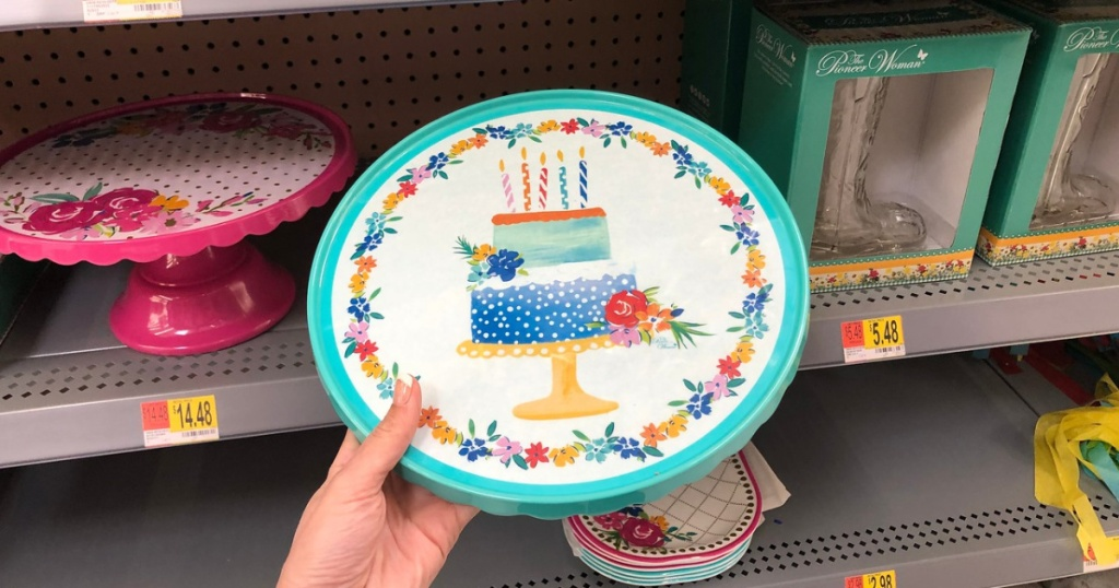 pioneer woman turquoise cake stand
