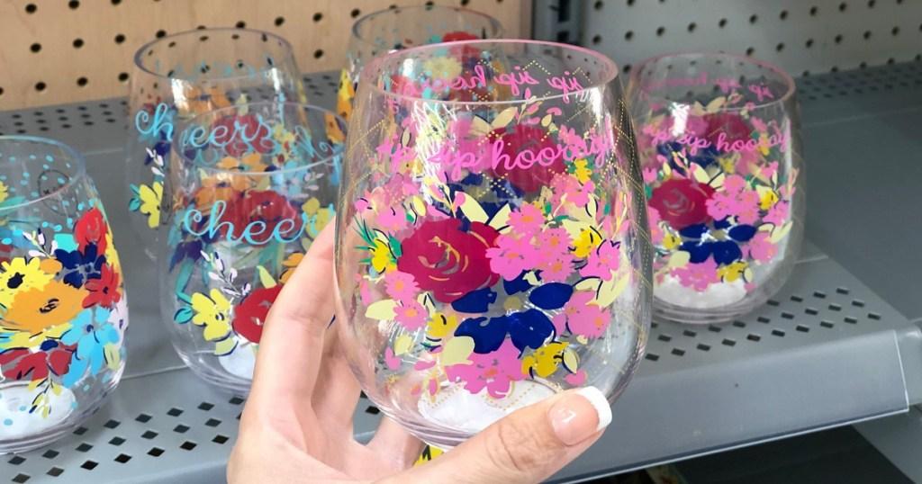 pioneer woman stemless wine glasses