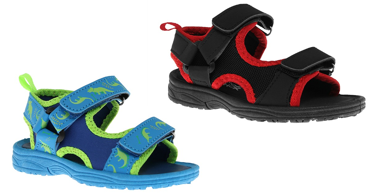 boy's play sandals in blue with green trim and black with red