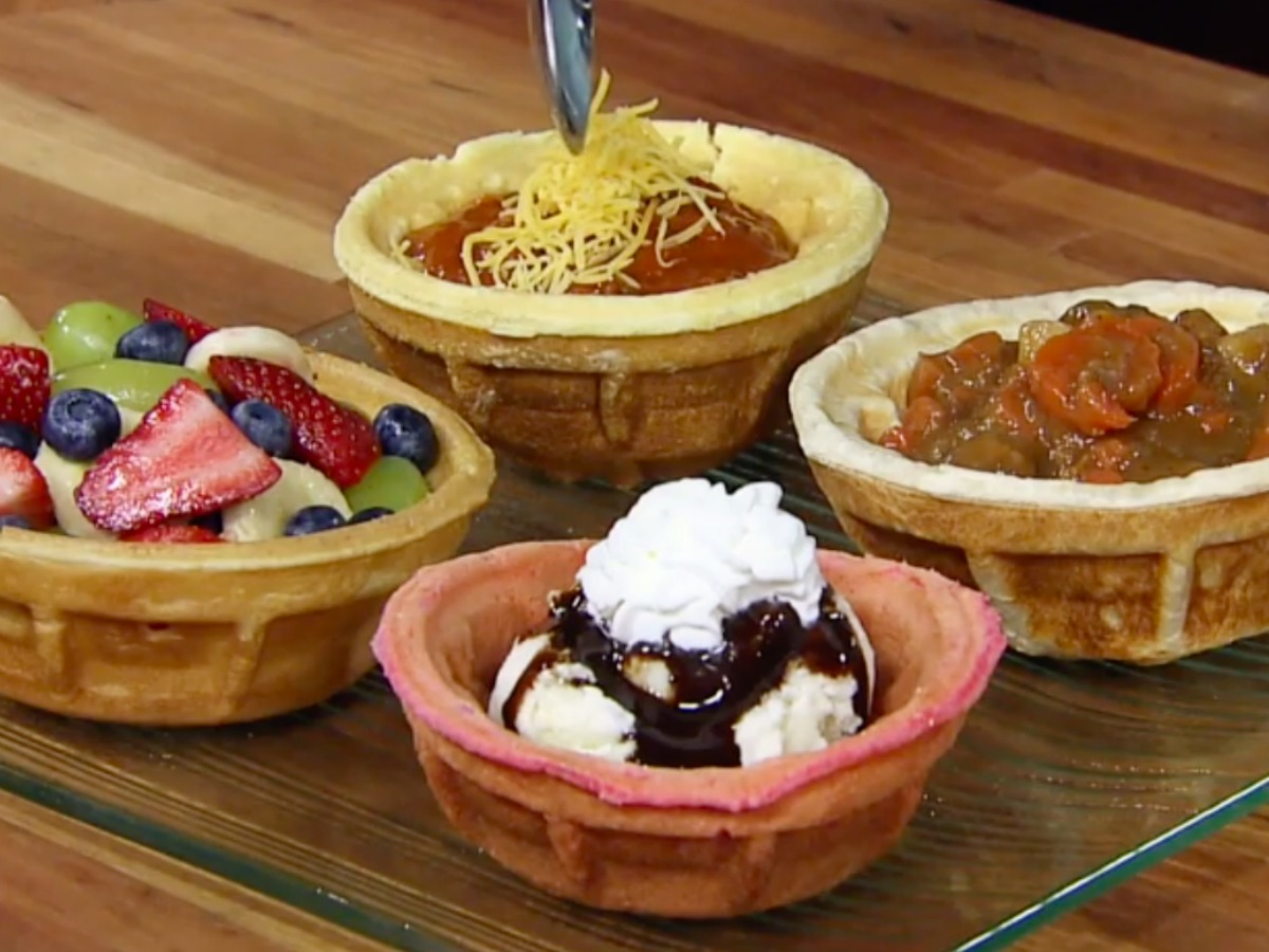 waffle bowls filled with foods
