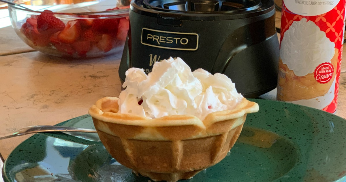 waffle bowl with whipped cream