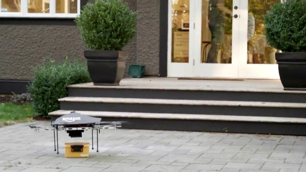 Prime Air drone making delivery
